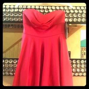 Cute strapless hot pink coral homecoming dress 0